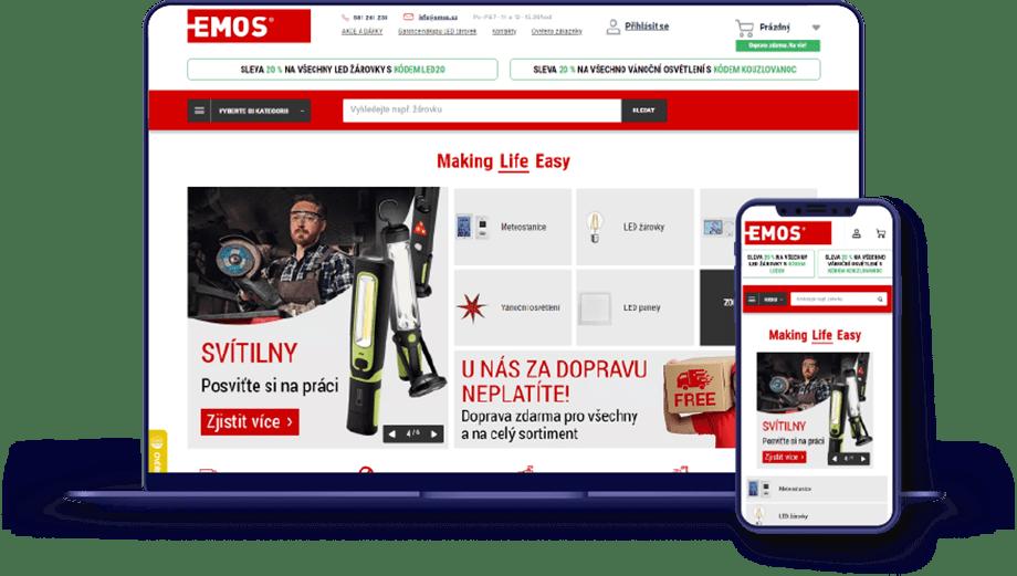 EMOS homepage screenshot